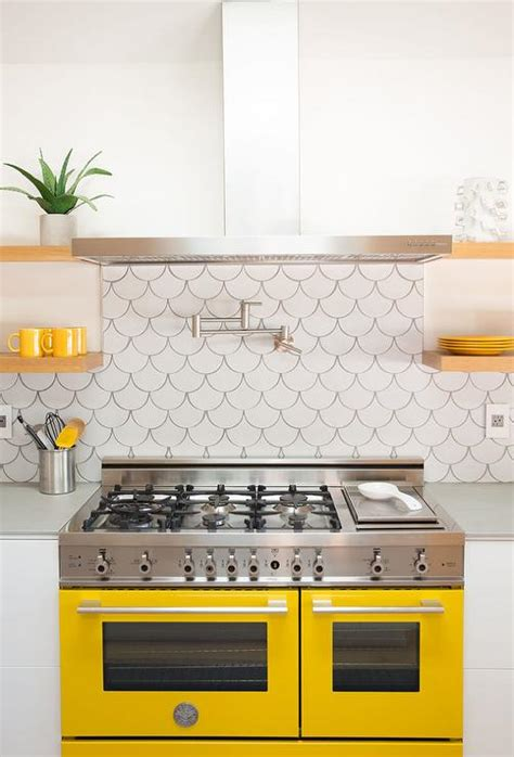 backsplash for yellow kitchen fish scale tile backsplash design ideas