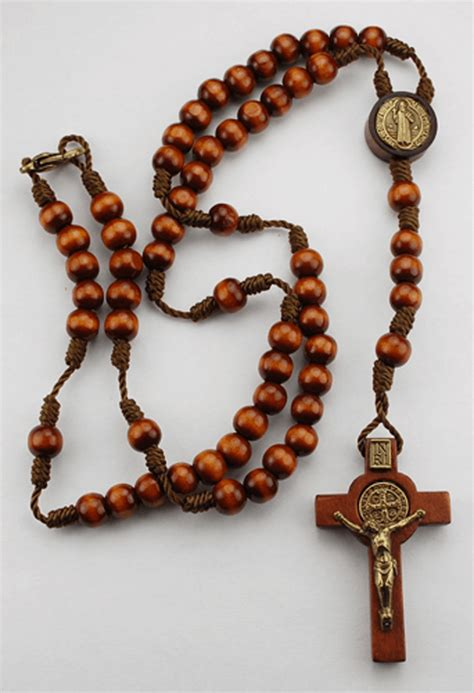 and rosary small brown wood st benedict rosary