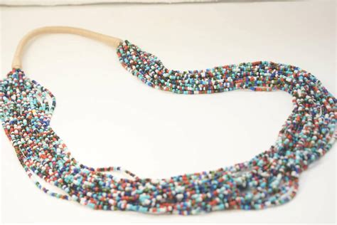 multi strand seed bead necklace 20 strand multi color white blue seed bead necklace quill