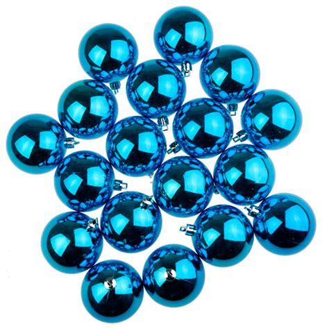 turquoise baubles turquoise baubles shiny shatterproof pack of 18 x