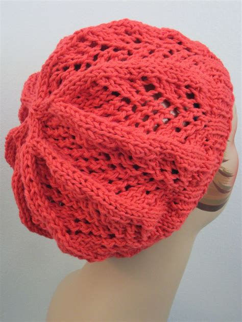 knit hat size 8 needles fan lace hat knit with 125 yards of worsted weight yarn