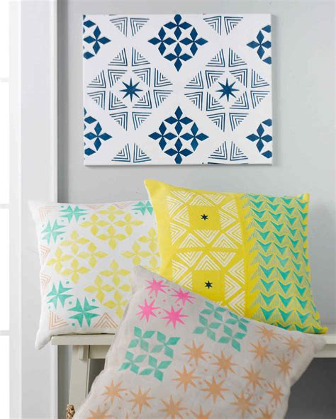 martha stewart craft projects diy stenciled throw pillows martha stewart