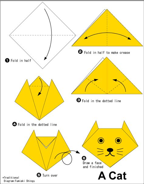 origami animals diagrams origami cat easy origami for