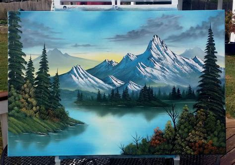 bob ross painting mountain ridge bob ross style landscape painting quot cool mountain lake