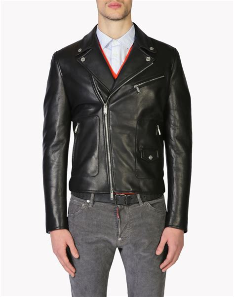 dsquared leather jacket dsquared2 leather jacket leather outerwear for official store