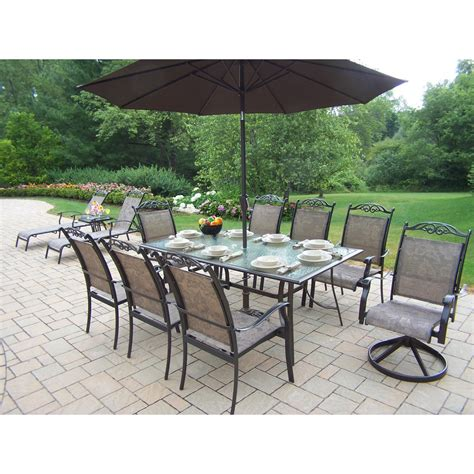 patio dining sets with umbrella oakland living cascade patio dining set with umbrella and