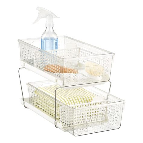 cabinet organizers madesmart white 2 tier pull out cabinet organizer the