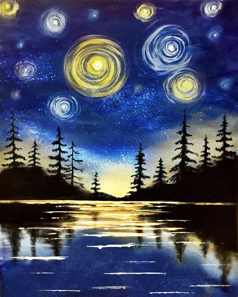 paint nite yerman s starry lake at miller s ale house lake grove paint