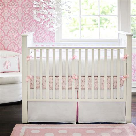 white crib bedding set white pique crib bedding in pink by new arrivals inc