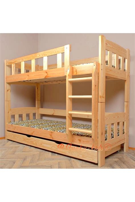 solid pine bunk bed solid pine wood bunk bed inez with mattresses and drawer