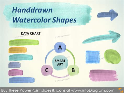 handdrawn watercolor shapes aquarelle arrow brush stripe