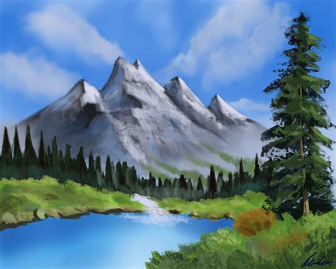 bob ross painting easy mountain lake by sasemax on deviantart