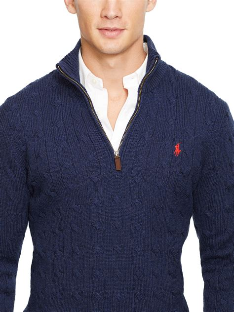 ralph navy cable knit jumper polo ralph cable knit silk half zip jumper in blue