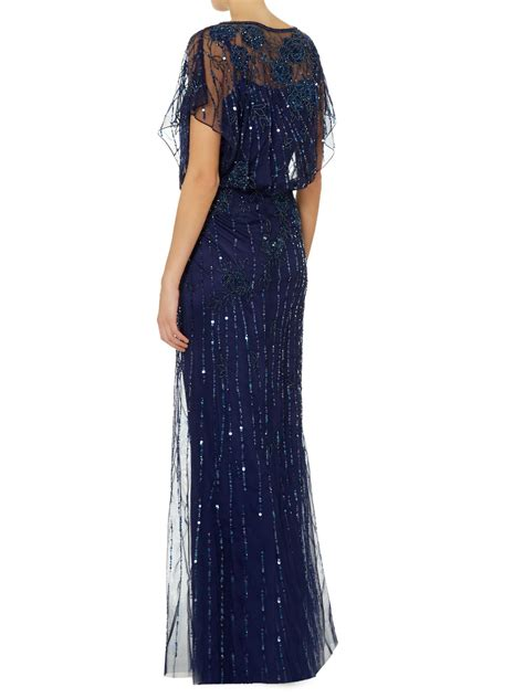 js collections beaded gown js collections all beaded gown with bat wing sleeves