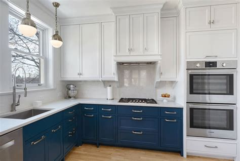 white and blue kitchen cabinets design trend blue kitchen cabinets 30 ideas to get you