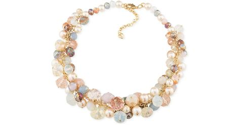 bead cluster necklace carolee gold tone multi color bead cluster choker necklace