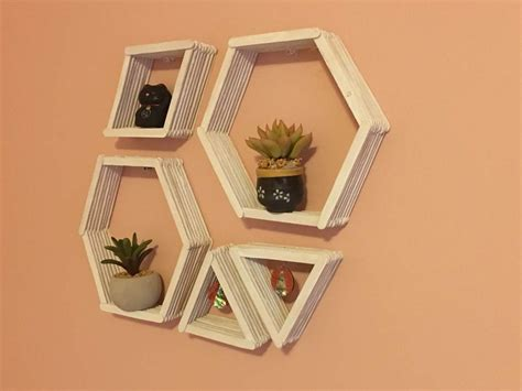popsicle craft projects diy geometric wall shelves shelves easy and patterns