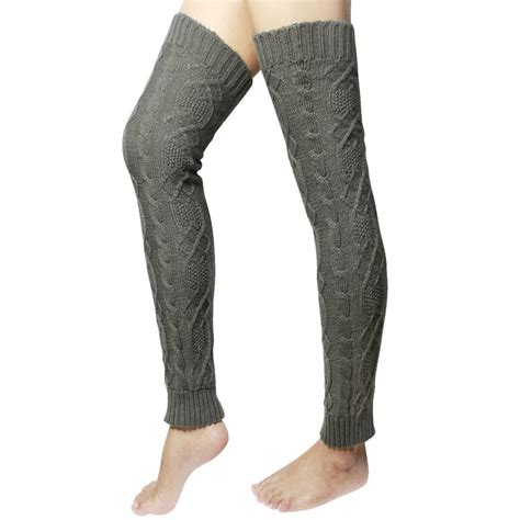 thigh high knit leg warmers cable knit thigh high leg warmers lover s knot gray ebay