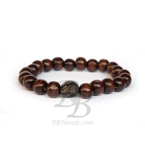 brown bead bracelet brown wood bead bracelet for with skull