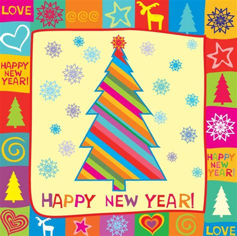 how to make a happy new year card happy new year greeting card vector illustration free