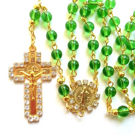 catholic rosary rosary green glass prayer rosary catholic rosary