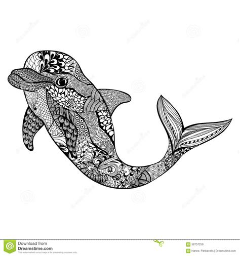 zentangle stylized dolphin hand drawn aquatic doodle