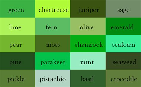list of green colors it s quot wine quot not here are the correct names of