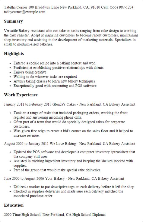 professional executive resume samples professional bakery assistant templates to showcase your