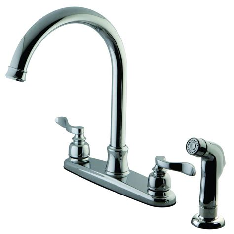 polished brass kitchen faucets kingston brass designer 2 handle standard kitchen faucet with side sprayer in polished chrome