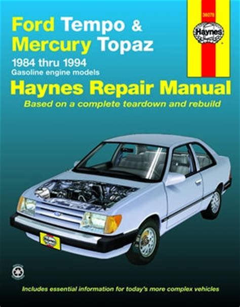 automobile air conditioning repair 1990 mercury topaz spare parts catalogs ford tempo mercury topaz haynes repair manual 1984 1994 hay36078