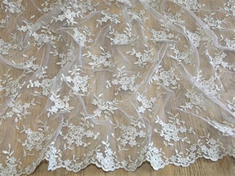 lace fabric embroidered scalloped edge couture bridal lace fabric mv