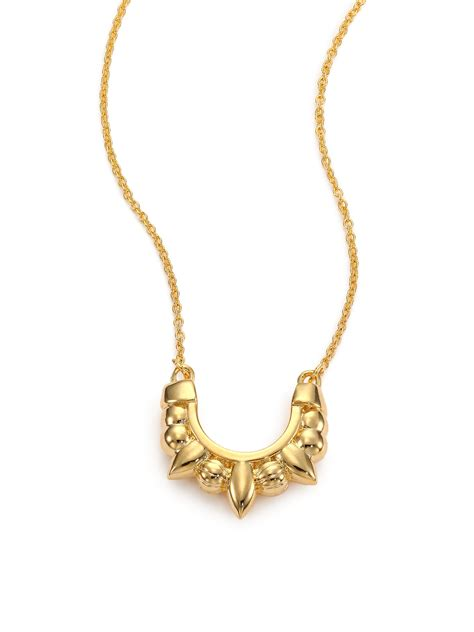 spike for jewelry mini spike pendant necklace in metallic lyst