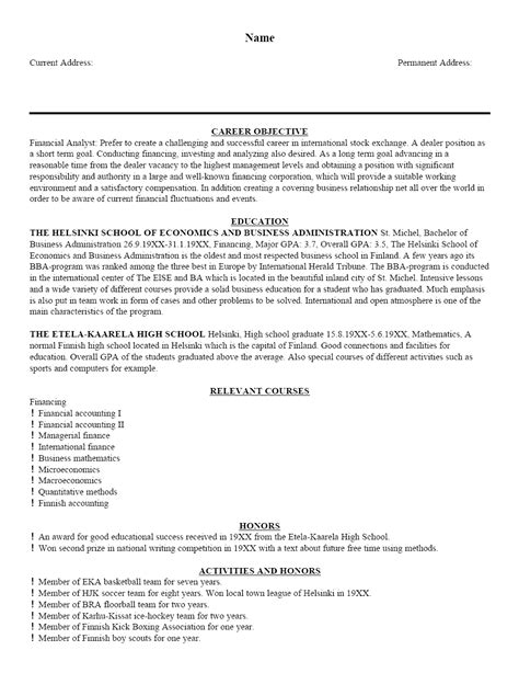 resume exaples free sample resume template cover letter and resume