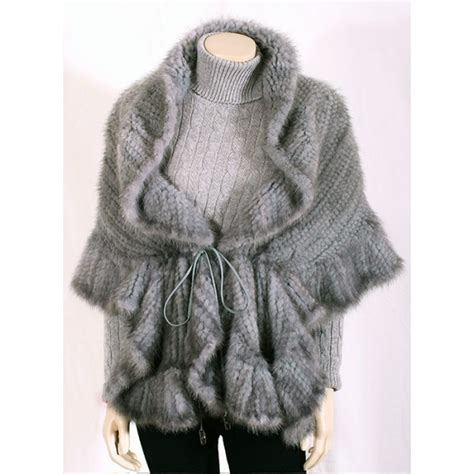 knitted mink jacket blue knitted mink bolero jacket with leather tie