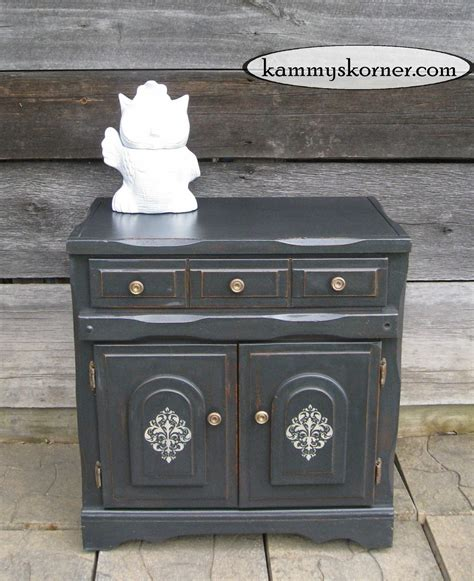 chalk paint how to distress kammy s korner charcoal black cabinet distressed chalk