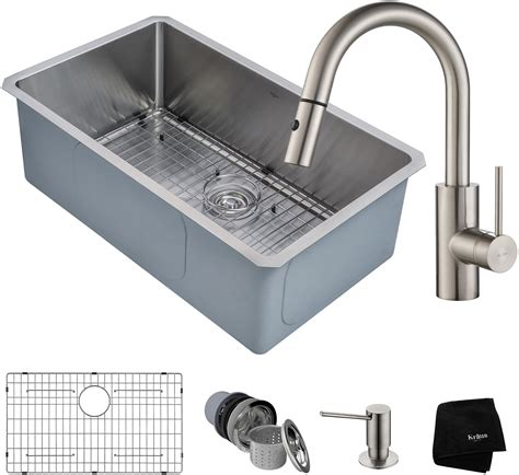 kitchen sink and faucet combinations kraus khu10030262041ss 30 inch kitchen sink and faucet combo with noisedefend 16