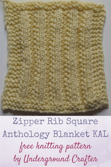 kal knitting free knitting pattern zipper rib square anthology