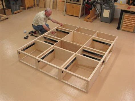building a bed frame with storage diy platform bed with drawers plans pdf loft bed
