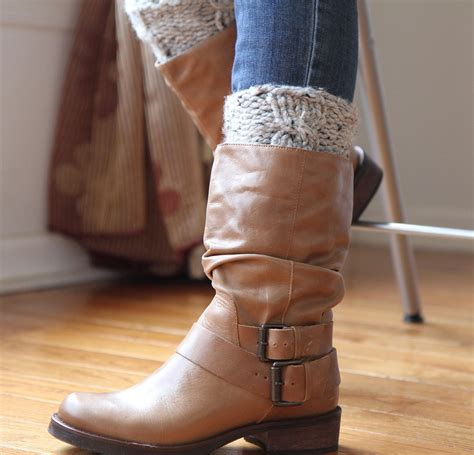 Boot Cuff Knit Leg Warmers Wool Blend Cable