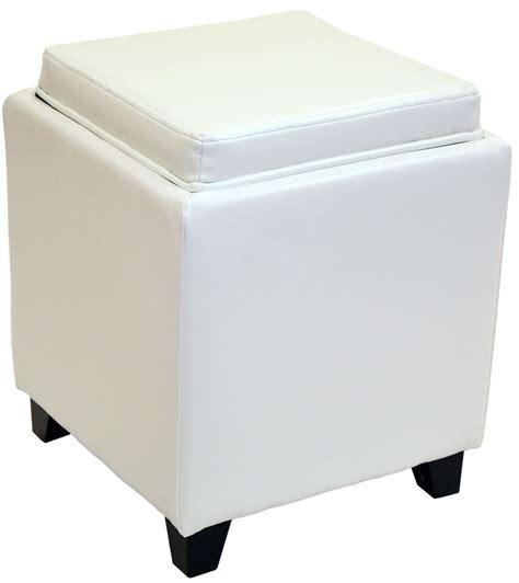 white leather storage ottoman rainbow white bonded leather storage ottoman with tray lc530otlewh armen living
