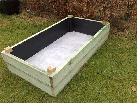planter box with liner on and insitu with geotextile liner