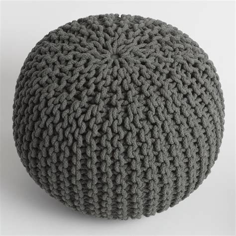 Charcoal Knitted Pouf World Market