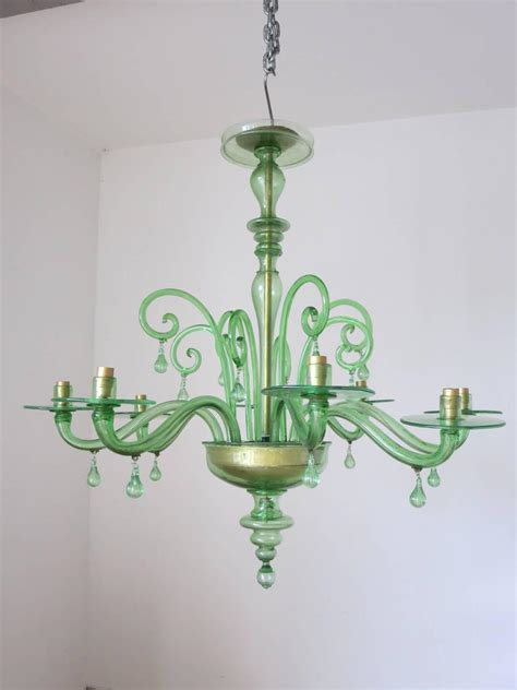 green glass chandelier emerald green murano glass chandelier by venini at 1stdibs