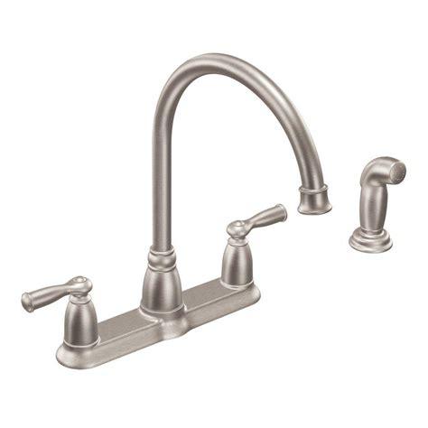 moen kitchen faucet models moen banbury high arc 2 handle standard kitchen faucet with side sprayer in spot resist