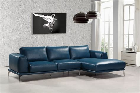 leather modern sofas divani casa drancy modern blue bonded leather sectional sofa