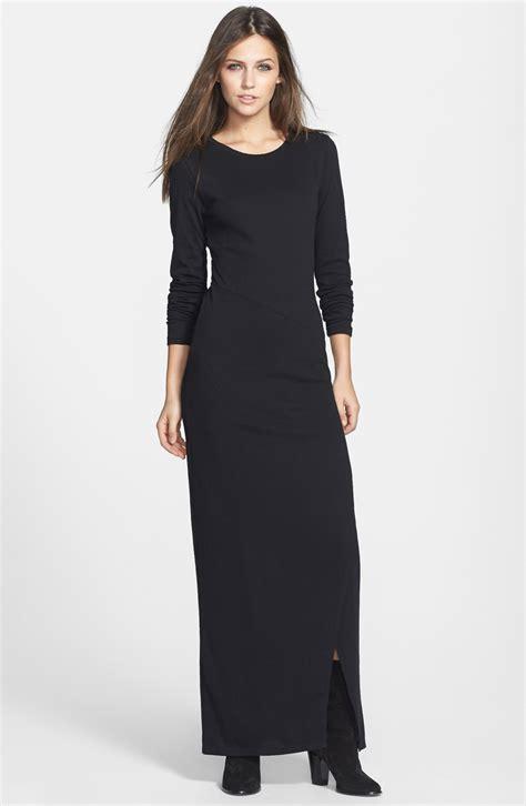 knit black dress leith sleeve knit maxi dress in black lyst
