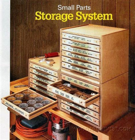 woodworking solutions small parts storage system plans workshop solutions