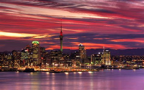 auckland new zealand auckland harbour sunset central auckland from mount