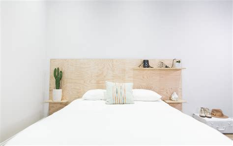 diy modern headboard mr kate diy minimalist plywood shelf headboard