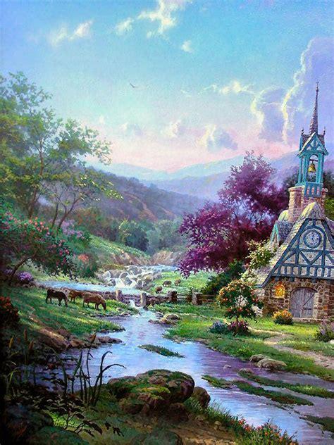 kinkade clocktower cottage kinkade paintings clocktower cottage 18x27 g p ebay